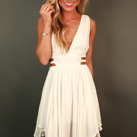 Grecian Gorgeous Cut Out Dress in Ivory