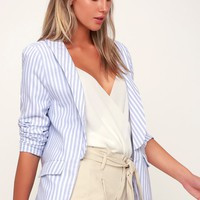 Camille Blue and White Striped Blazer