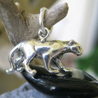 Panther Sterling Silver Charm Wildcat Cougar Cat Pendant 11 x 19 MM