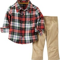 Carter's 2 Piece Plaid Top Set (Baby) - Red Plaid-18 Months