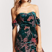 Floral Off-the-Shoulder Velvet Dress