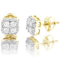 10k Gold Solitaire Clove Style 0.4Ct Real Diamonds Gift Designer Earrings
