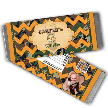 Little Hunter Birthday Party Favors - Camo Candy Wrapper - Deer Birthday - Camouflage Chevron - Orange - Childs Photo - Camo Birthday Party