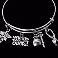 Nurses Call the Shots RN Expandable Charm Bracelet Adjustable Silver Bangle One Size Fits All Gift Registered Nurse Stethescope