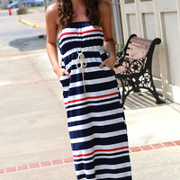 Nautical Striped Maxi {Navy}