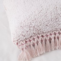 Cara Amped Fleece Fringed Throw Pillow | Urban Outfitters