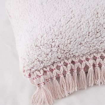 Cara Amped Fleece Fringed Throw Pillow   Urban Outfitters
