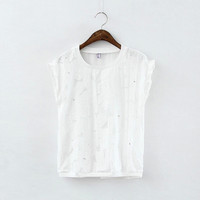 White Floral Beaded Embroidered Sleeveless Shirt