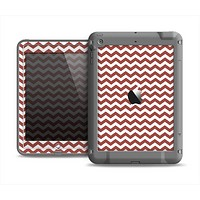 The Maroon & White Chevron Pattern Apple iPad Air LifeProof Fre Case Skin Set