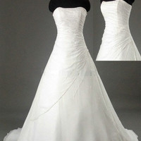 A-line Strapless Chapel Train Chiffon Lace Wedding Dresses With Beading Free Shipping