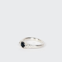 Snake Bite Ring - silver/midnight sapphire