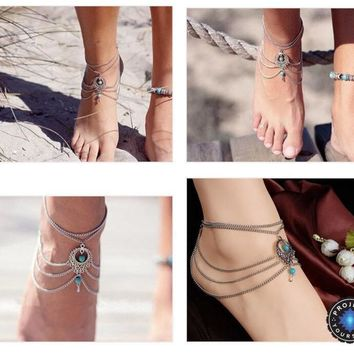Ethnic Turquoise Beads Layered Foot Chain Anklets