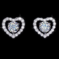 Romantic Heart Shape Hug 5mm 0.5ct CZ Stud Earrings Valentine