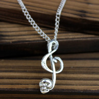 charm of music lovers necklace - skulls treble clef, alloy necklace gift -- friendship