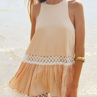 Beige Lace Sleeveless Dress-Top