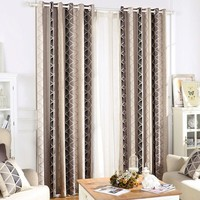 Korean Style Luxury Curtains for Living Room Geometrical Pattern Jacquard Weave curtains