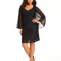 Onyx Plus Size Dress, Long-Sleeve Sequined Lace