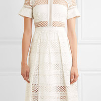 Self-Portrait - Broderie anglaise cotton midi dress