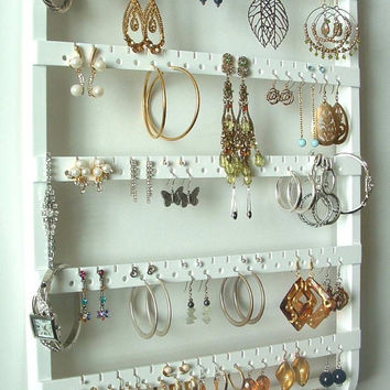 Jewelry Holder Earring Organizer, Solid Oak Wood, White Stain, Jewelry Storage Necklace Rack, Wall Mount, Oak Hardwood, Beautiful Holder
