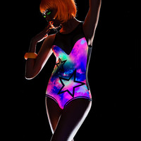 Black Light Reactive Star And Galaxy Bodysuit-Rave Clothing