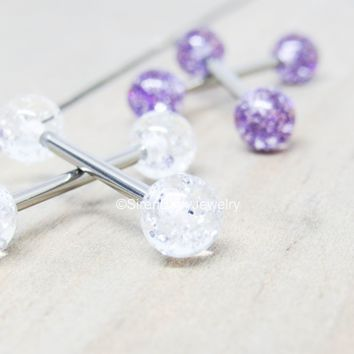 Titanium nipple piercing barbells 14g glitter ball purple pink or clear 5mm external pair