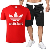 ADIDAS Men and women simple sports suit two-piece Red