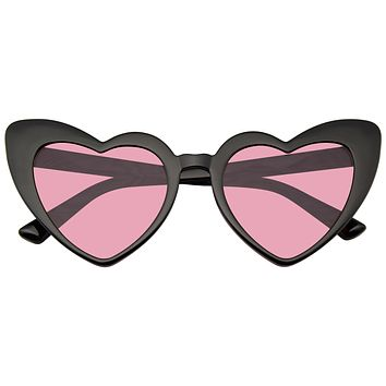 Cat Eye Heart Shape Sunglasses Retro Festival Color Tinted Lenses Black Sunglasses