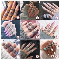10PC/Set Women Punk Vintage Knuckle Rings Tribal Ethnic Hippie Stone Joint Ring Jewelry Set Gift