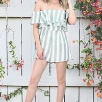 Vertical Stripes Off Shoulder Romper {Green/White}