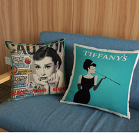 1 Piece Character Printed Linen Cushion Throw Pillow