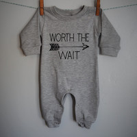 Worth the Wait , baby boy, baby girl Romper, baby romper, Long sleeve Romper,  baby shower gift, printed baby Romper, gray romper