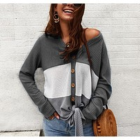 Autumn and winter new fashion women's V-neck sexy  long-sleeved stitching sweater