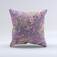 Purple Green and Blue Vector Floral Pattern ink-Fuzed Decorative Throw Pillow