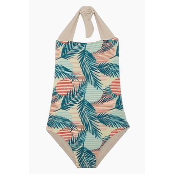 Layla Open Back One Piece Swimsuit (Kids) - Pink Sunset Print
