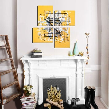 "Original 4 piece abstract painting. Geometric yellow painting. Large painting. 25x25"" Modern wall art. Canvas art. Contemporary"
