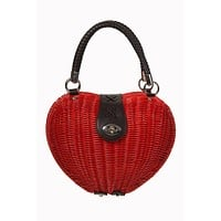 Vintage Pinup Lolita Red Heart Shaped Wicker basket Handbag