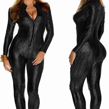 2018 Women Nightclubs Black Leather Sexy Body Suits for Pole Dancing Clothes Leotard Snakeskin Pattern Bodysuit Catsuit Clubwear