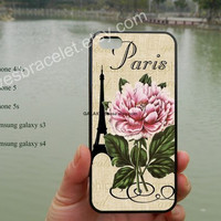 Paris,Eiffel Tower iPhone case,victorian flowers,iPhone 5s case,iPhone 5c case,Samsung Galaxy S3 S4 Case,iPhone 4/4S Case,iPhone 5 Case-378