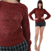 Red Sweater 90s Grunge Loose Cotton Holiday Knitted Mod boat neck multicolor Ribbed sweater Medium