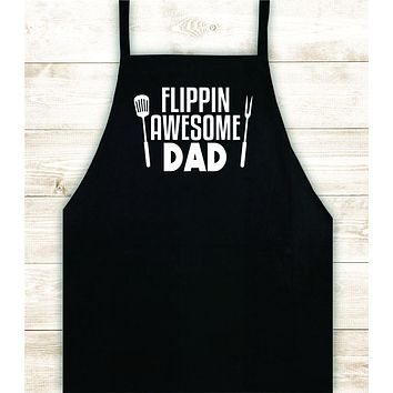 Flippin Awesome Dad Apron Heat Press Vinyl Bbq Barbeque Cook Grill Chef Bake Food Funny Gift Men Kitchen