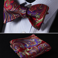 Red, Green, Purple Floral 100% Silk Butterfly Tie Self Tie Bow Tie Pocket Square