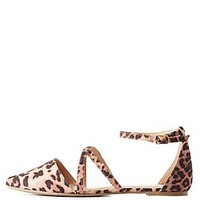 CRISSCROSS POINTED TOE PRINTED FLATS