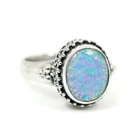 Sterling Silver Oxidized Beadwork 11x9mm Oval Blue Opal Ring
