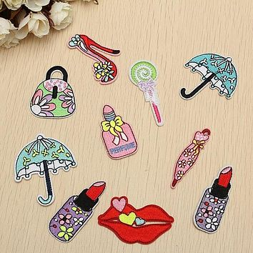 10Pcs Sew Iron on Patch for Jeans Jacket Embroidered Applique Badge Cute Patch for Clothing Fabric Apparel DIY Decor For Women