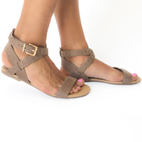 Summer Abroad Wrap Sandals in Tan