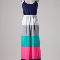 Color Block Maxi Dress - Navy and Neon Pink