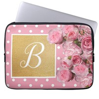 Pink Polkadot and Peonies Laptop Sleeve | Zazzle.co.uk