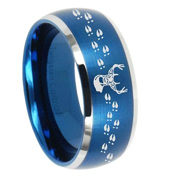 8mm Deer Antler Dome Brushed Blue 2 Tone Tungsten Mens Promise Ring