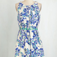 Mid-length Sleeveless A-line Great Wavelengths Dress in Blue Floral