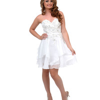 White Rhinestone Beaded Sweetheart Strapless Short Dress Prom 2015